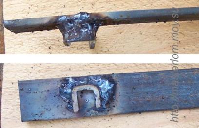 """Сварка """"П"""" образной заготовки и пластины для ремонта регулятора спинки сидения"""