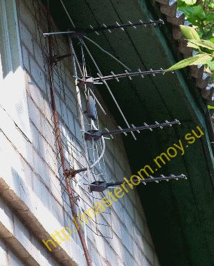 Проверочное подключение антенны - антенна на деревянной палке.
