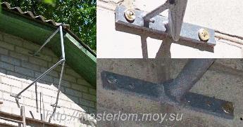 Крепление готового кронштейна / держателя для антенны на дюбеля