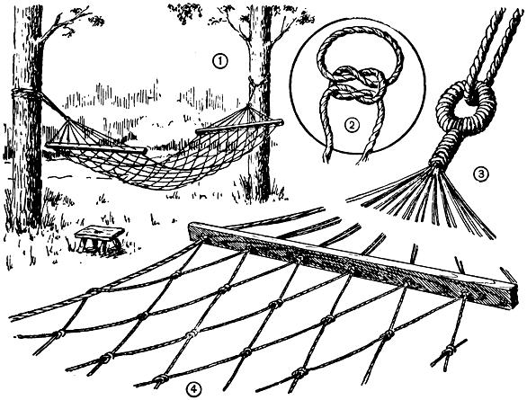 процесс плетения гамака.