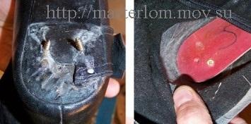 Крепление каблука на подошве снаружи и изнутри