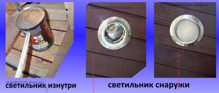 светильник вмонтированный в свес крышы - коробочку