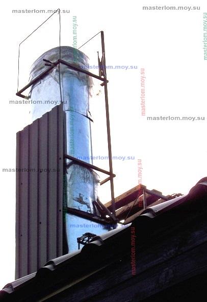 процесс монтажа профнастила на дымоход