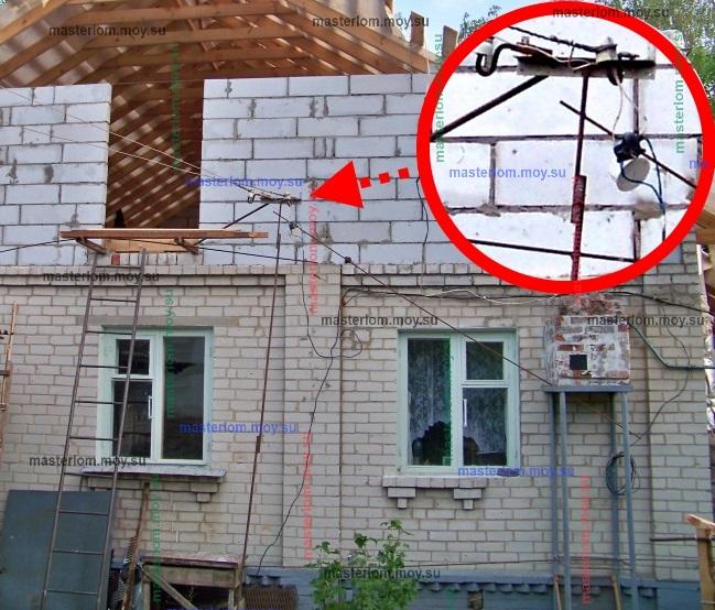 Временное крепление проводов на балконе