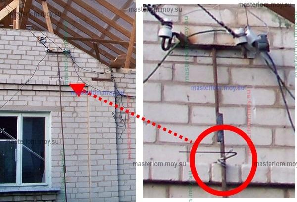 Временное крепление проводов на стене