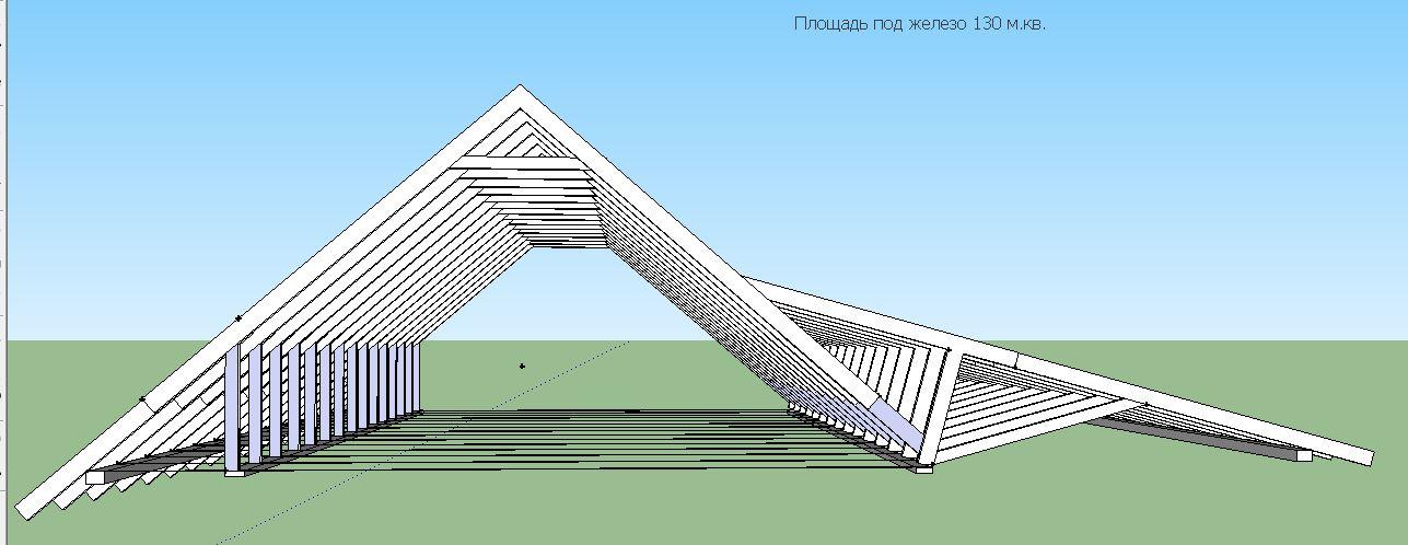 Стропильная система ломаной крышы-вид с фронтона