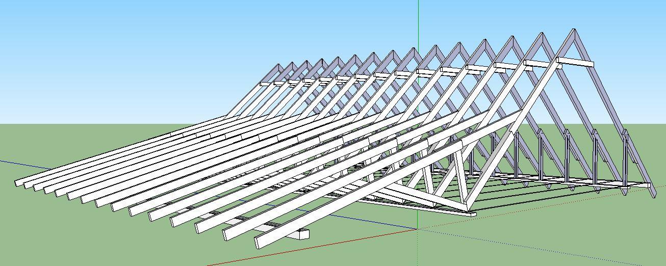 Стропильная система ломаной крышы-вид слева