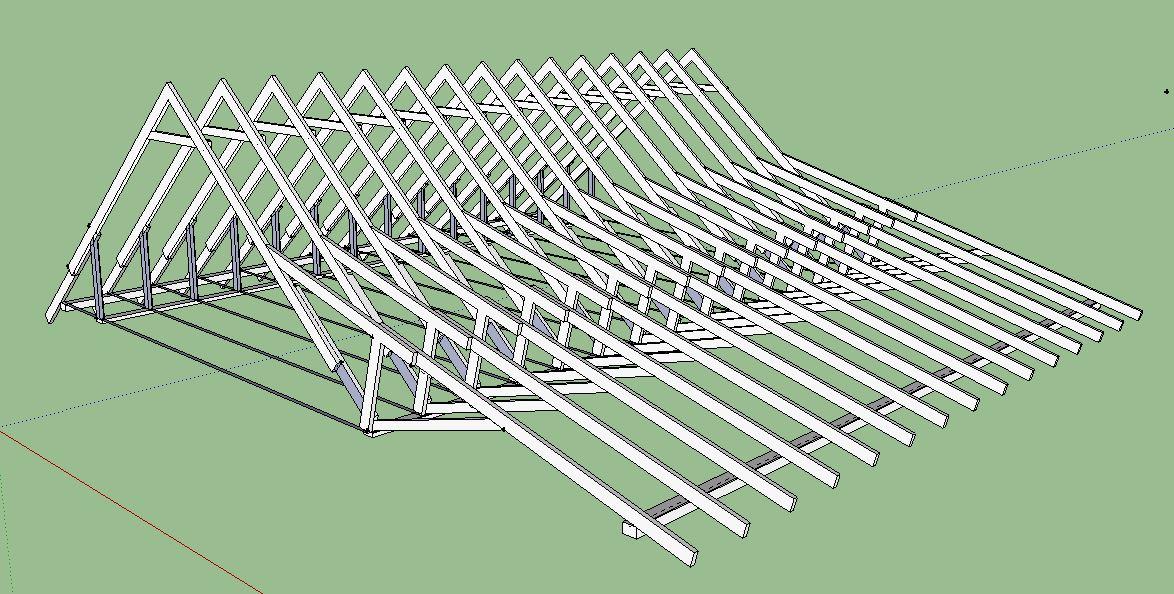 Стропильная система ломаной крышы-вид справа