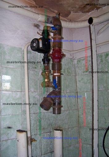 первичное крепление узла к системе отопления
