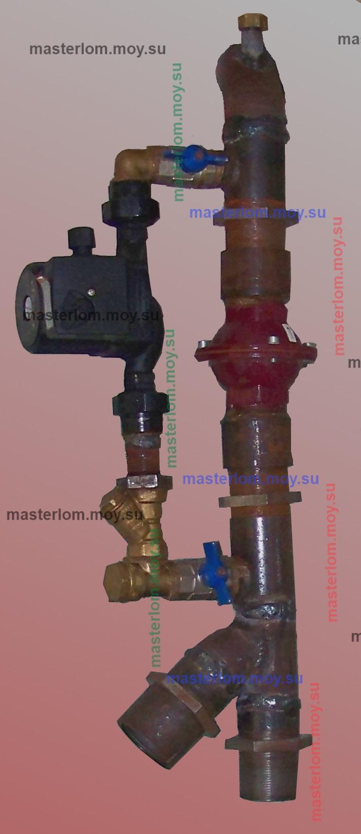 узел с насосом и обратным клапаном для монтажа над котлами отопления