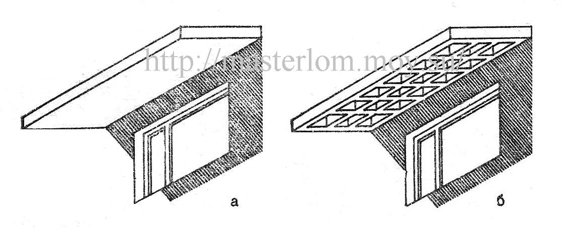 Карниз бетонный, решетчатый навес от солнца