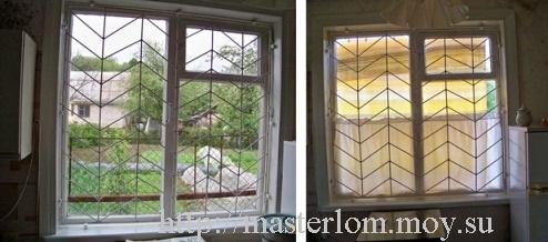 Окно до и после защиты от солнца шторкой - вид изнутри