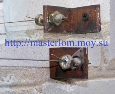 Крепление натяжного устройства на уголок к стене