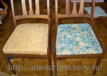 Старый и новый стулья, до смены обивки и после
